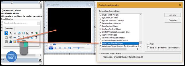 Insertamos el control adicional WindowsMediaPlayer a nuestro UserForm.