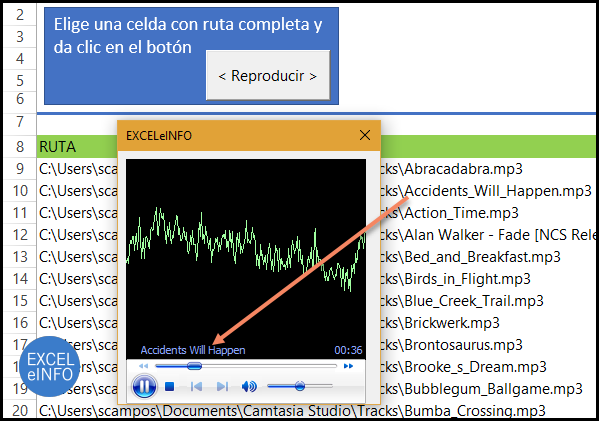 Se reproducen archivos mp3 en UserForm y el control WindowsMediaPlayer1.