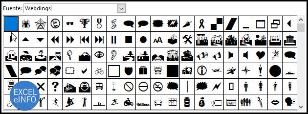 Caracteres de la fuente Webdings.