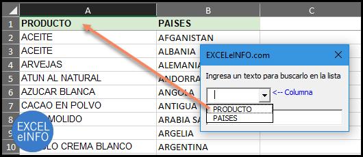 Usamos un Cuadro combinado para mostrar los encabezados de las lista de búsqueda.