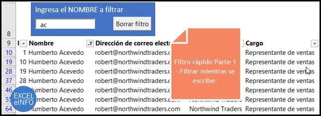 Filtro rápido en Excel Parte 1 - Filtrar mientras se escribe.