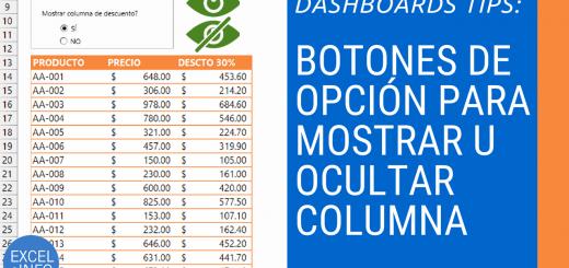 Usar Botones de opción en Excel para mostrar u ocultar columna Dashboards Tips