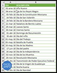Días festivos en México.