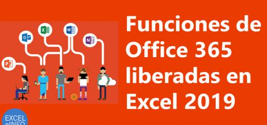 Funciones de Office 365 liberadas en Excel 2019