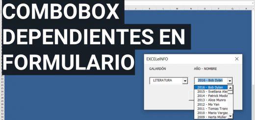 Combobox dependientes en Formulario de Excel usando VBA