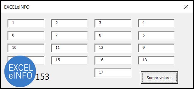 Formulario con muchos TextBoxes que deseamos sumar.