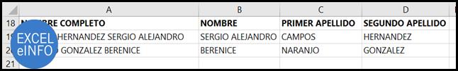 Separar nombres y apellidos en Excel.