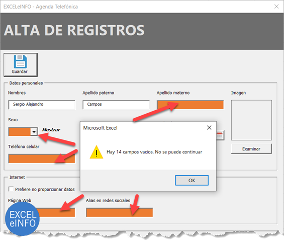 Validar controles vacíos antes de GUARDAR Formulario de Excel VBA.