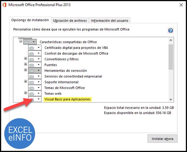 Instalar VBA para poder ejecutar macros en Excel y Office.
