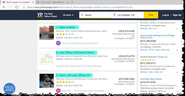 Haciendo búsqueda manual desde una página Web.
