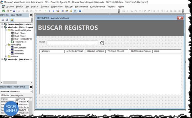 Formulario para buscar elementos de la agenda en Microsoft Excel usando VBA y macros