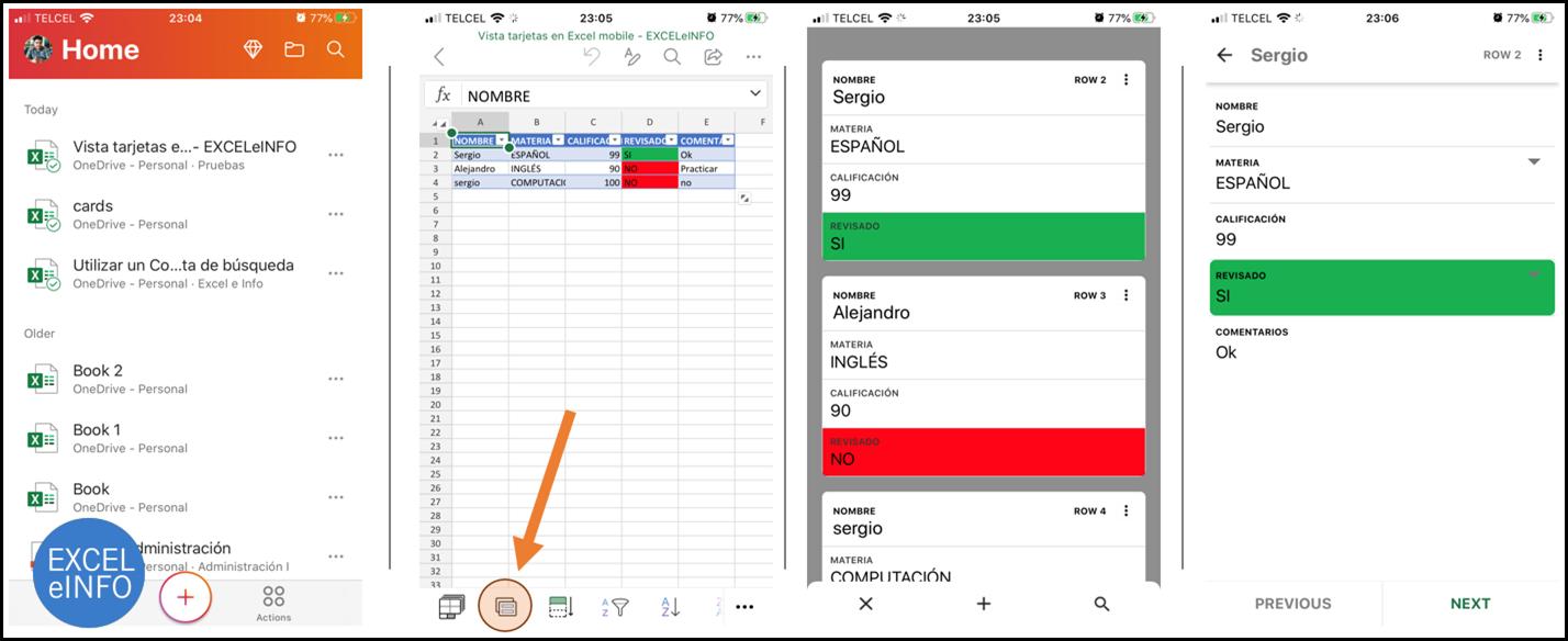 Cards view en la App de Excel para iOS y Android