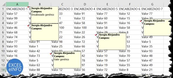 Comentarios en archivo de Microsoft Excel