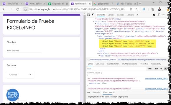 Buscar etiquetas de los campos del Google Form