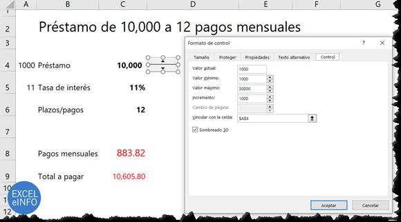 Control de número para elegir valores mínimos y máximos