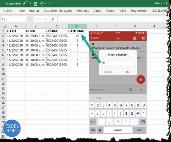 Enviar parámetros adicionales a Excel desde el celular usando Barcode to PC