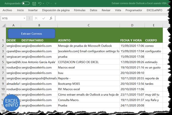 Extraer información de los correos de Outlook a Excel