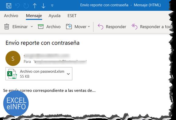 Enviar por correo archivo de Excel protegido con contraseña