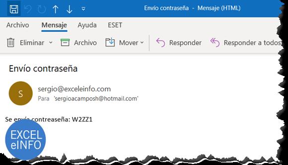 En un segundo correo enviamos la contraseña del archivo de Excel