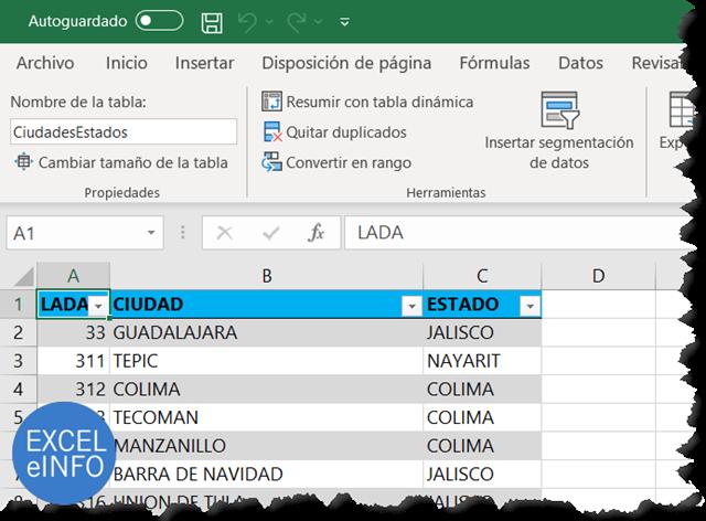 Tabla de ciudades para cruzar valores usando BUSCARV en Excel