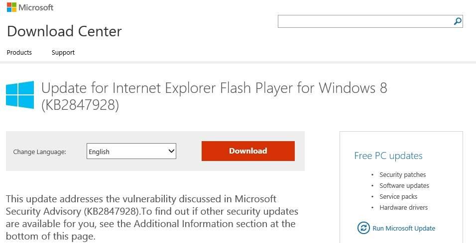Update Flash Player IE para windows 8