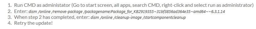 Windows 8.1 Update: KB2919355 Error 80073712