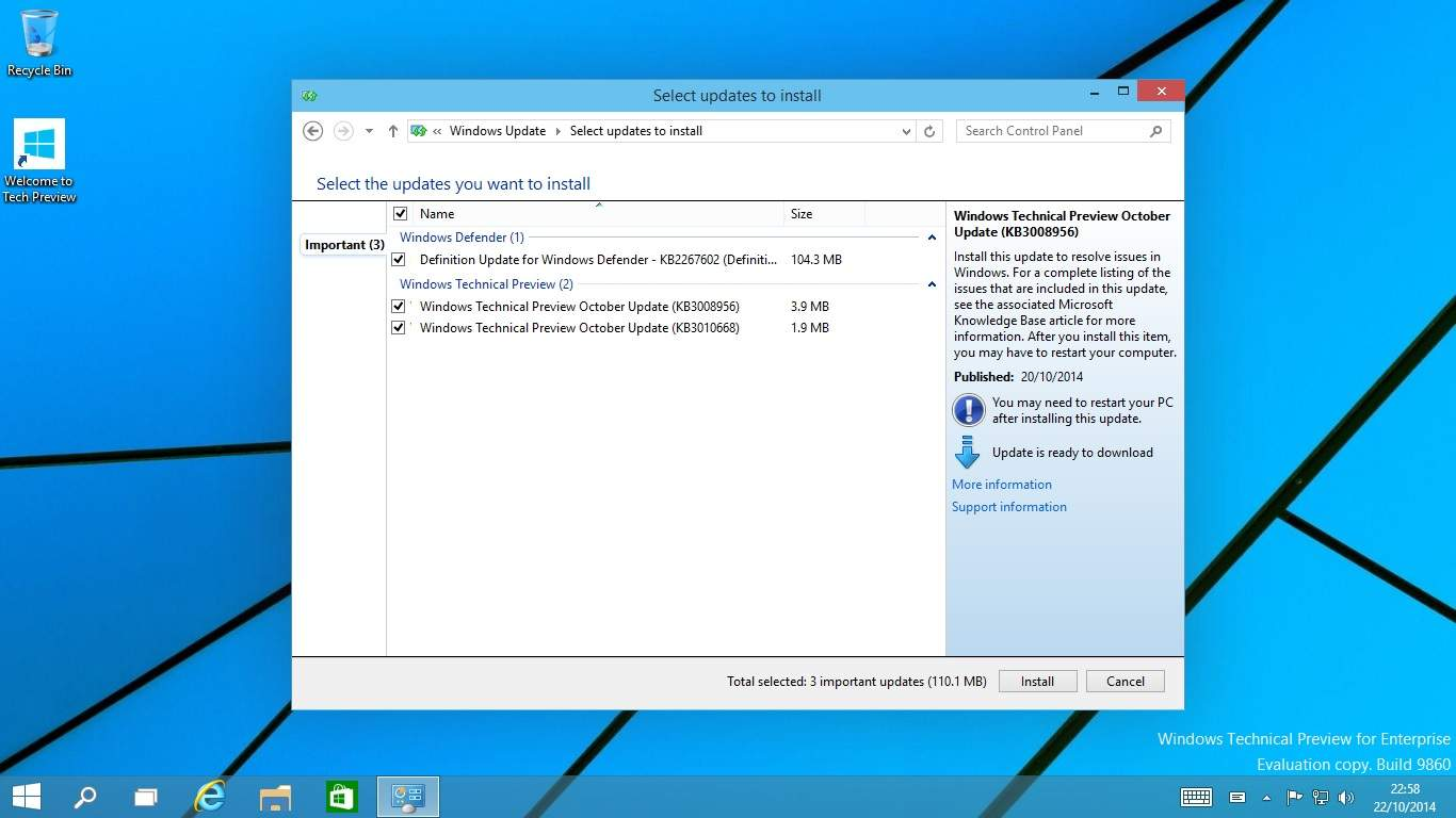Windows Technical Preview 10 Actualizacion 9860