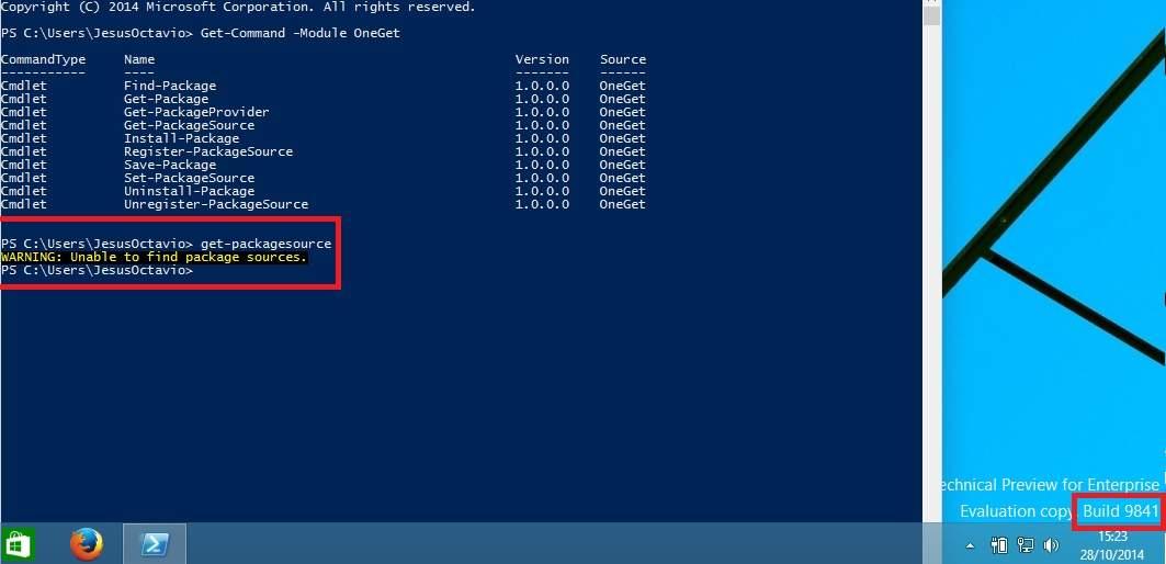 A la Vista nueva Caracteristica de Windows 10 TP Build 9860 (OneGet)
