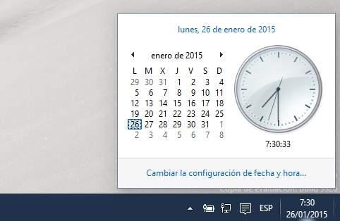 Activar el nuevo estilo del reloj en Windows 10