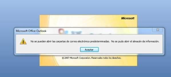 Error al abrir el almacén de información en Outlook 2007 (experiencia)