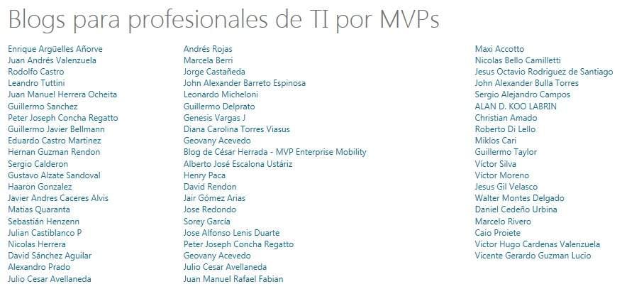 Busca a los MVP´s Latinoamerica en Technet