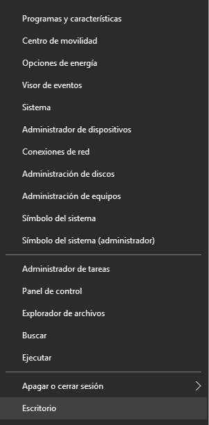 Personalizar el Menu WinX en Windows 10