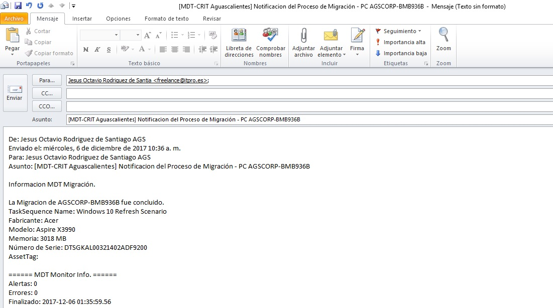 Enviando E-Mail de confirmación durante el proceso de Implementacion – MDT
