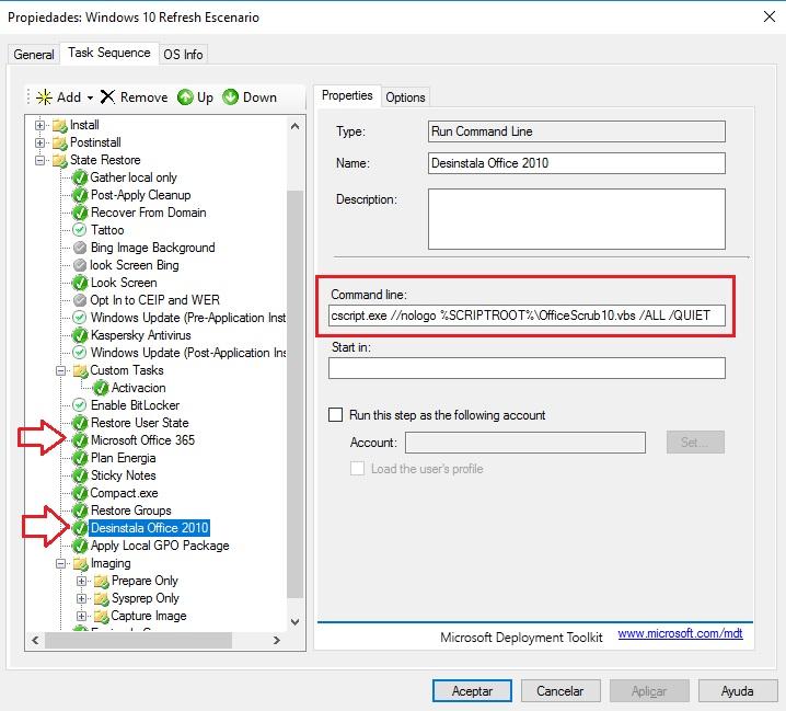 Desinstalar Versiones anteriores de Office e Instalar Office 365 durante el despliegue con MDT