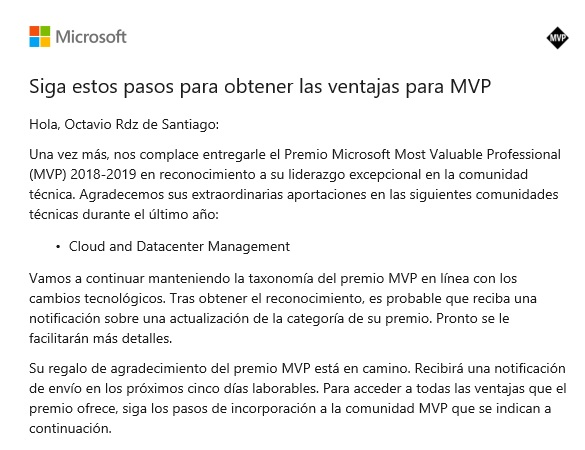 Microsoft Most Valued Professional y Windows Insider MVP 2018-2019