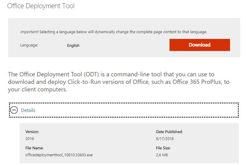 Office Deployment Tool (nueva version)