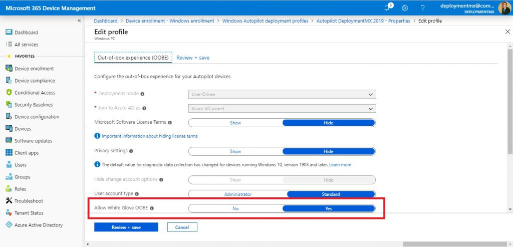 Activando White Glove Autopilot con Intune (Agregando Office365 y Taskbar)