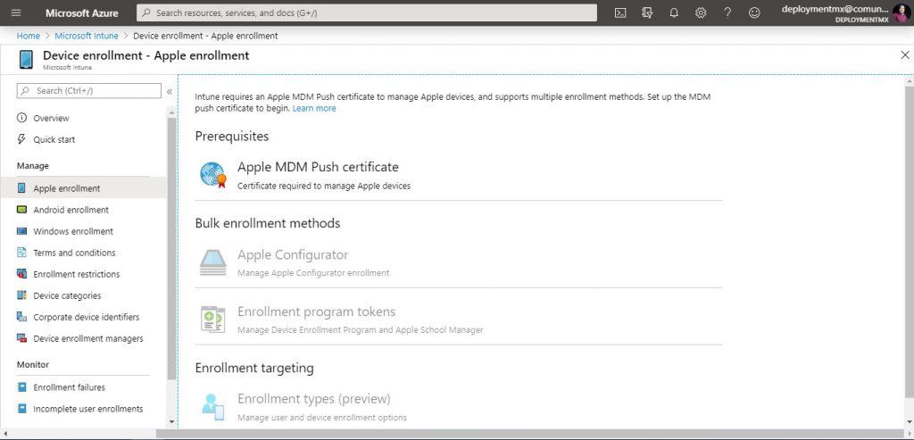 Enrolar dispositivo Apple a Microsoft Intune