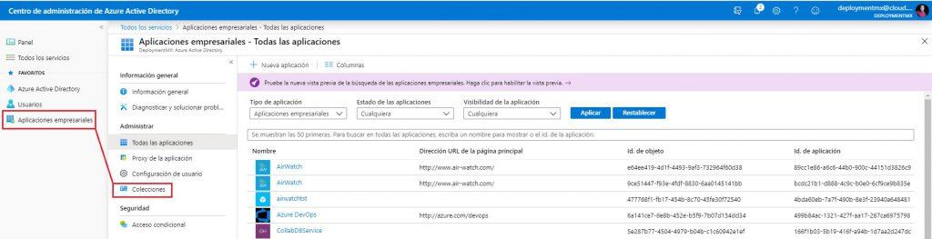 Crear colección de aplicaciones en Azure Active Directory